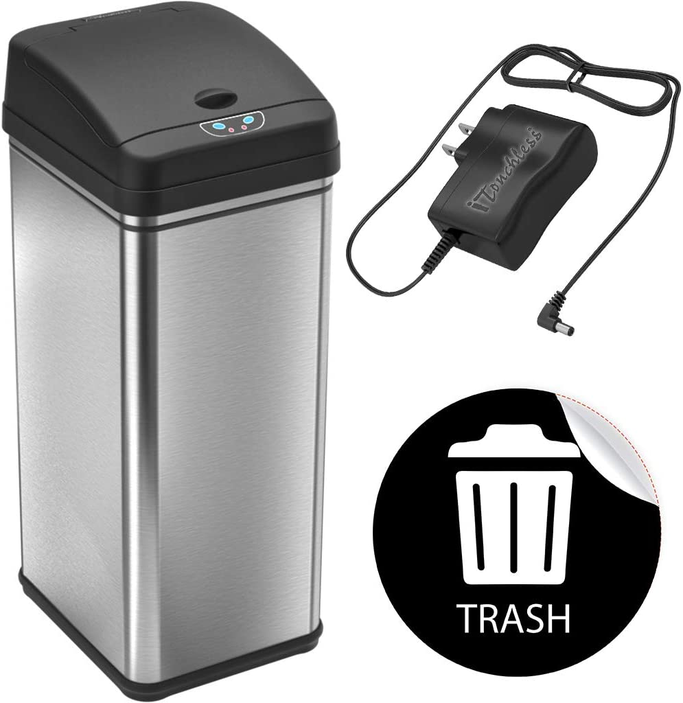 "iTouchless 13 Gallon Automatic Touchless Sensor Kitchen Can with AC Adapter and Odor Filter Deodorizer, 1 Waterproof Reusable ""TRASH"" Vinyl Sticker, Stainless Steel"
