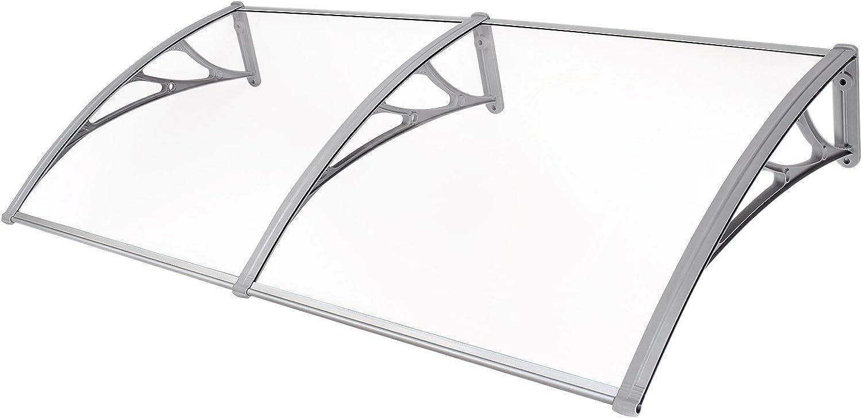 SONGMICS Marquesina para Puertas Ventanas Toldo Cubierta de policarbonato de 3 mm Transparente 155 x 75 cm GVH158