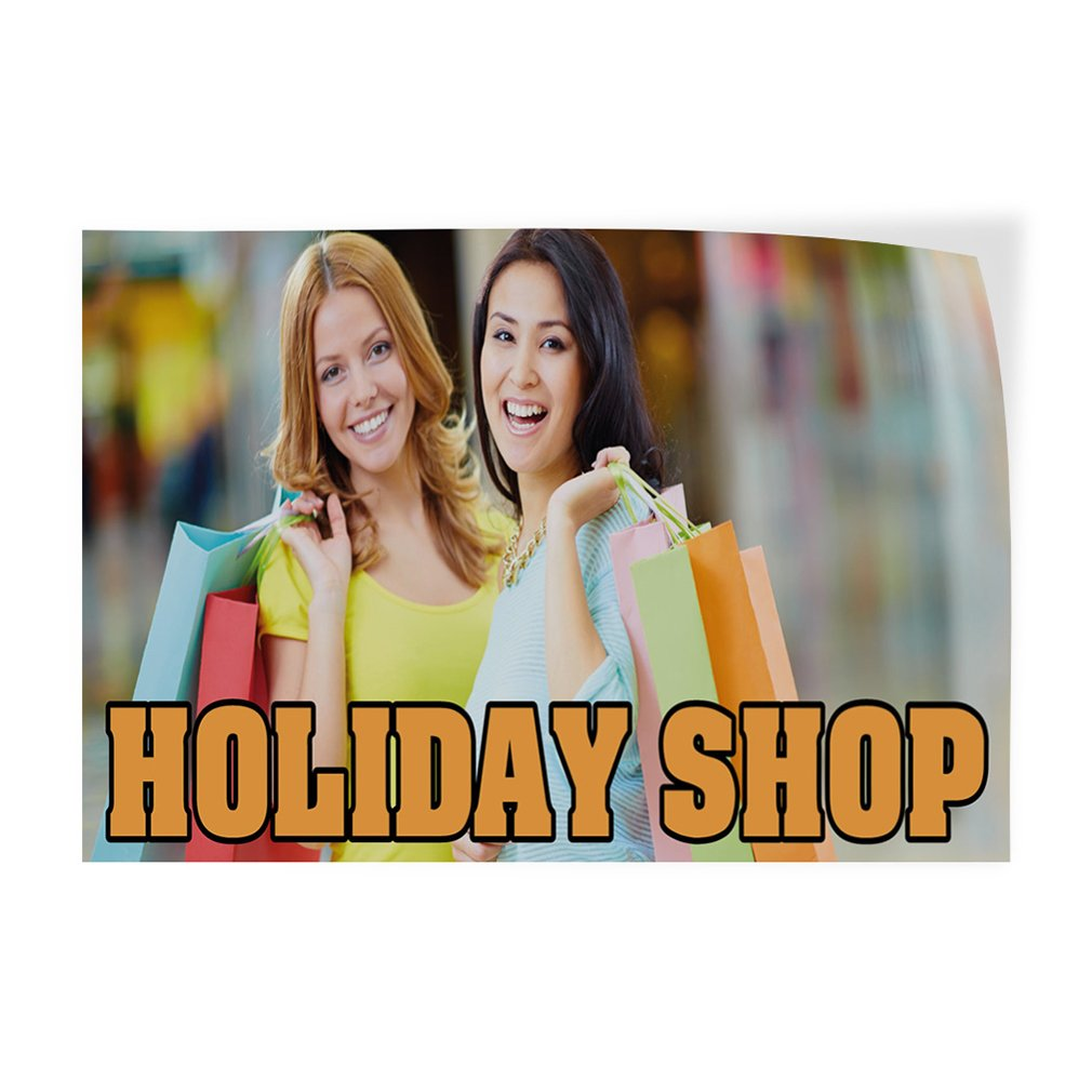 Decal Sticker Multiple Sizes Holiday Shop #1 Style B Lifestyle Shop Outdoor Store Sign Yellow Set of 2 54inx36in
