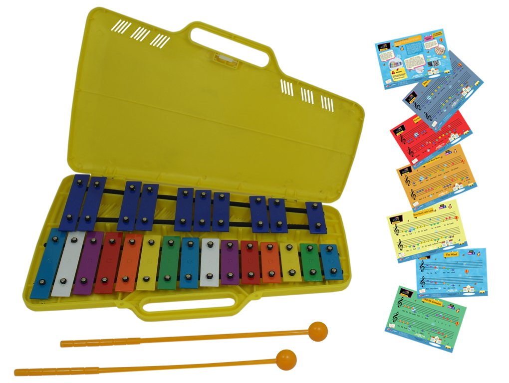 D'Luca TL25S 25 Notes Full Chromatic Xylophone Glockenspiel with Music Cards Sky Blue Telemarketing Inc.