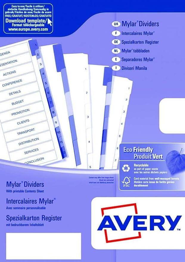 Avery España 05193501 Juego separadores en cartón 200gr pestañas A-Z imprimibles: Amazon.es: Oficina y papelería