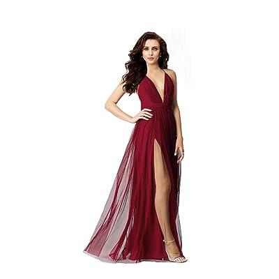 Night Glamour Women's Elegant Prom Dresses deep v-NecklineBack Tulle Sleeveless Long Party Prom Evening Formal Dress: Clothing