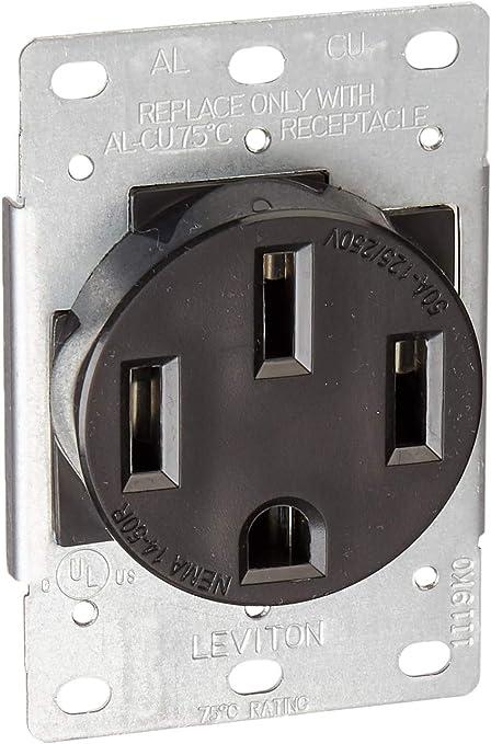 10 New Flush Mount Range Outlet 50A Receptacle Nema 14-50R Plug 4 wire