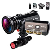 4K Wifi Full Spectrum Camcorders, Ultra HD Infrared Night Vision Paranormal Investigation Video Camera with 60fps 24MP 30X Di