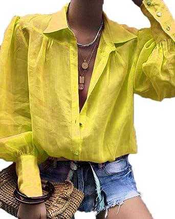 2019 La Nueva Blusa Casual de Solapa para Mujer Camisa con Cuello en V de Color sólido Manga de Soplo Puño Apretado Tops Sueltos
