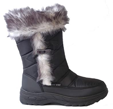 Ladies Zip Up Winter Snow Boots Black Size UK 7 EU 41: Amazon.co ...
