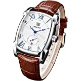 Classic Retro Rectangle Watches Men Brown Genuine Leather Men's Watch Quartz Business Wrist Watch For Men