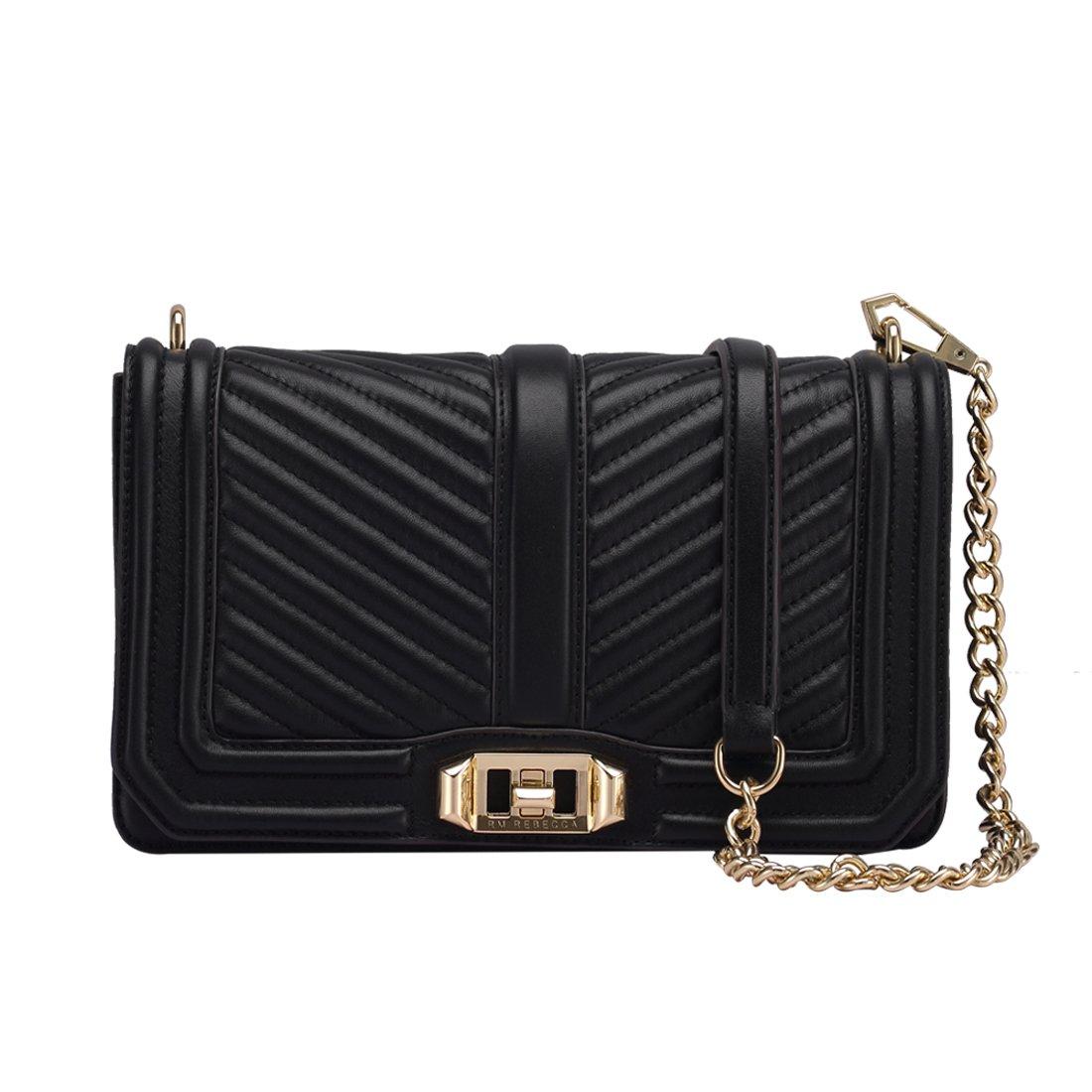Women's Leather Messenger Bag Mini Chain Bag Adjustable Shoulder BagWomen's Fashion Shoulder Bag Quilting Chain Cross Ladies Handbag (Black)