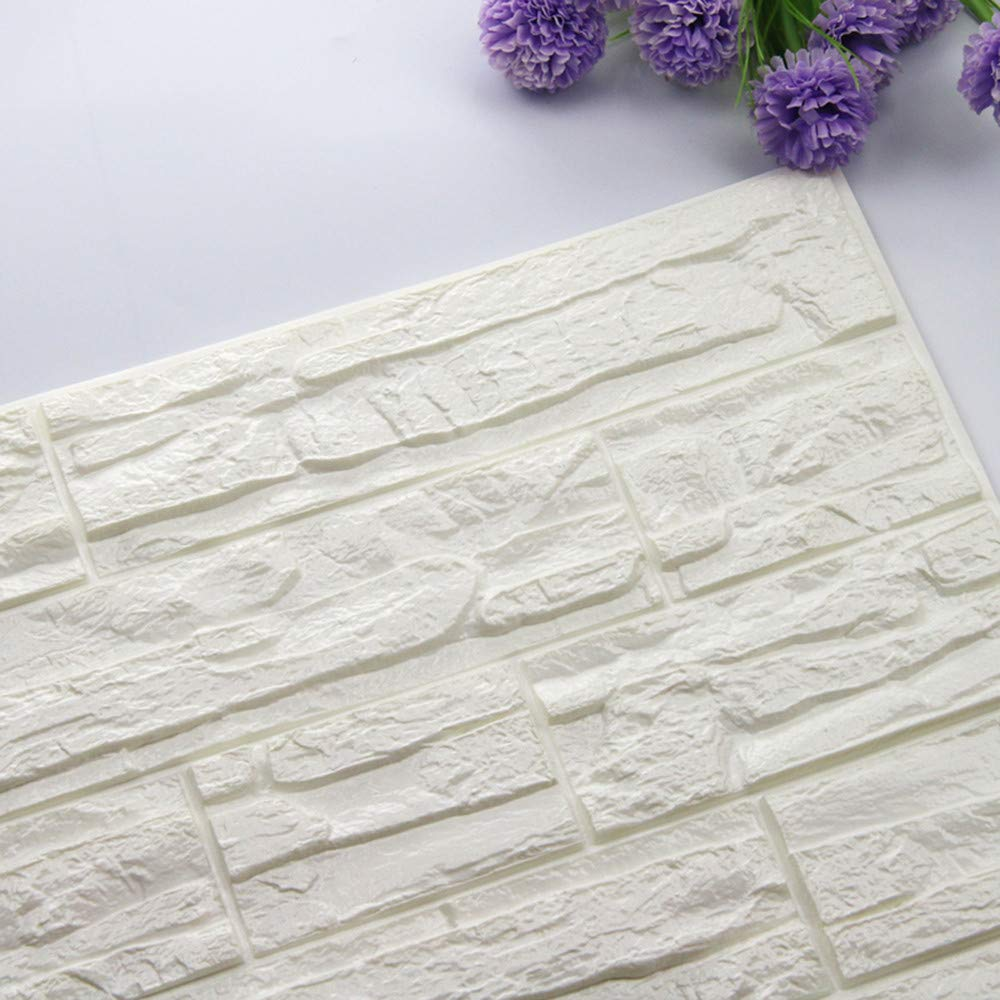 Pet1997 Self-adhesive 3D Brick Wall Sticker, DIY 3D Brick PE Foam Wallpaper Panels, Room Decal Stone Decoration For Home Living, Bedroom, Kitchen - 23.62Inch x 11.81Inch (A)