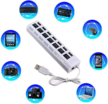 Oliwui 7-Port USB 2.0 Multi Charger Hub+High Speed Adapter ON//Off Switch Laptop PC Power Charging Port USB Hub Hub Ethernet