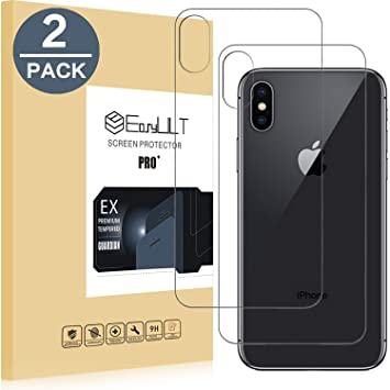 3f5cc59a899 EasyULT [2 Pack] Protector de Pantalla para iPhone X, 2 Pack Trasero  Protector