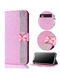 Stysen Galaxy A5 2016 Wallet Case,Galaxy A5 2016 Glitter Flip Case,3D DIY Handmade Shiny Bling Sparkle Diamond Rhinestone Pattern Pink Pu Leather Soft Inner Folio Magnetic Closure Bookstyle Card Slots Pouch with Strass Butterfly Bowknot Buckle and Stand Function Luxury Fashinable Elegant Protective Wallet Case Cover for Samsung Galaxy A5 2016-Diamond,Pink
