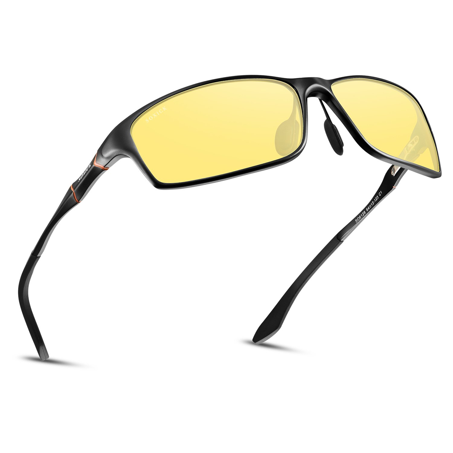 Soxick Night Driving Polarized Glasses for Men Women Anti Glare Rainy Safe HD Night Vision HOT Fashion Sunglasses(black oval yellow) by SOXICK