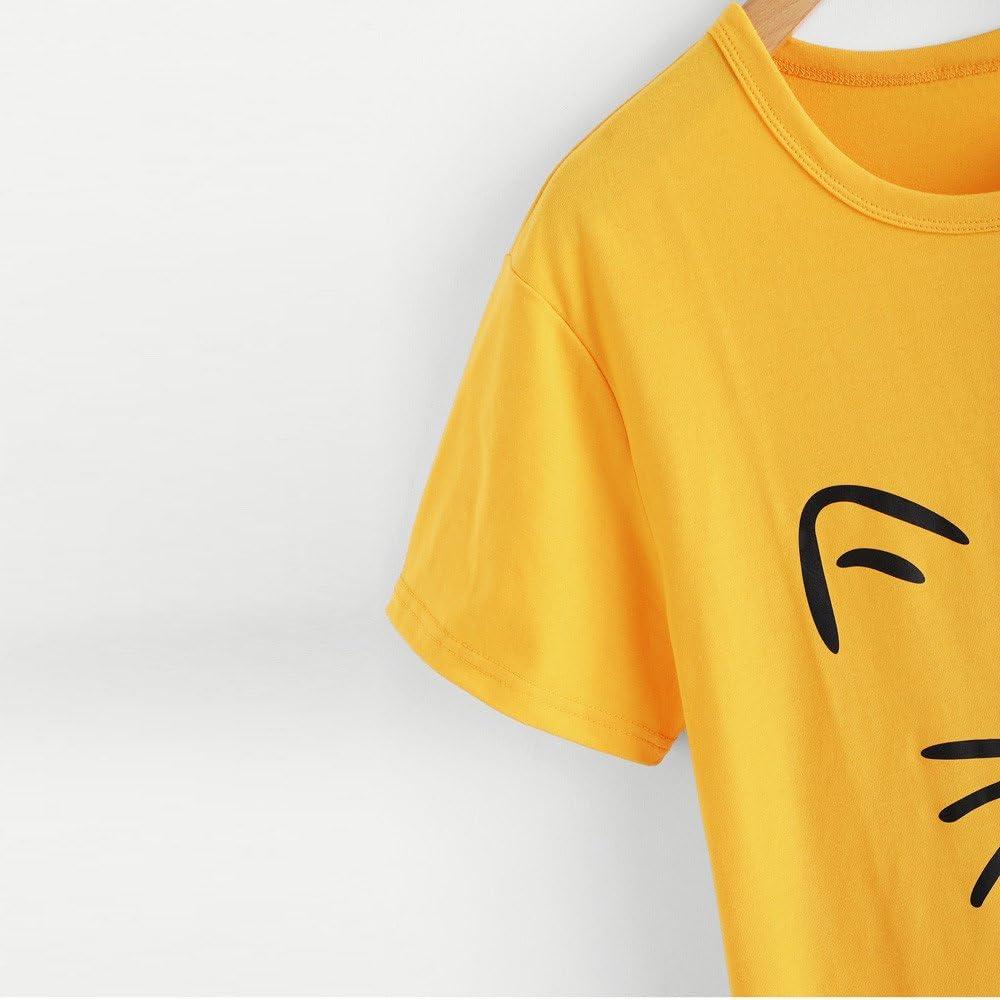 ZEFOTIM Fashion Womens O-Neck Short Sleeve Caring cat Plus Size Cotton Casual Top