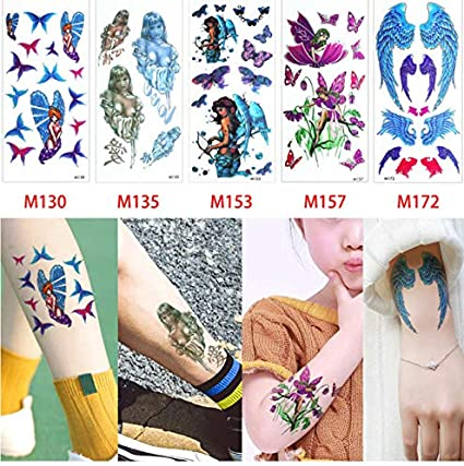 slldyax 5 unids/set color tatuaje cuerpo arte temporal pegatina ...