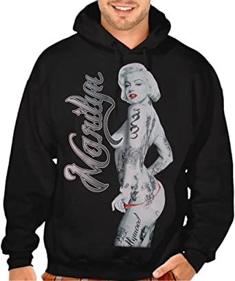 Mens Marilyn Monroe Tattoo Black Mask Hoodie Sweater