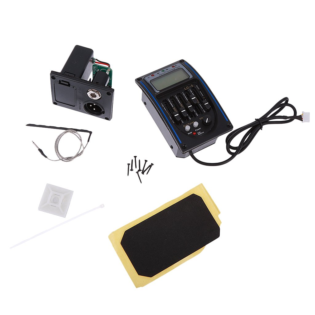MonkeyJack 5-Band Preamplifier EQ Equalizer Pickup Tuner Kit for Acoustic Guitar Parts