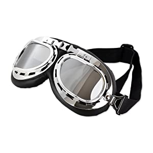 MultiWare Motorcycle Goggles Pilot Flying Motorcycle Scooter Eye Protect Retro Style Diamond Clear