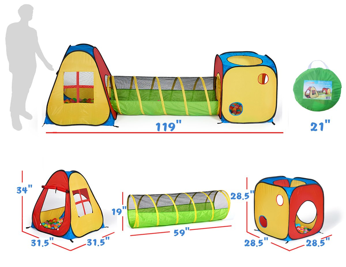 UTEX 3 in 1 Pop Up Play Tent with Tunnel, Ball Pit for Kids, Boys, Girls, Babies and Toddlers, Indoor/Outdoor Playhouse by UTEX (Image #4)