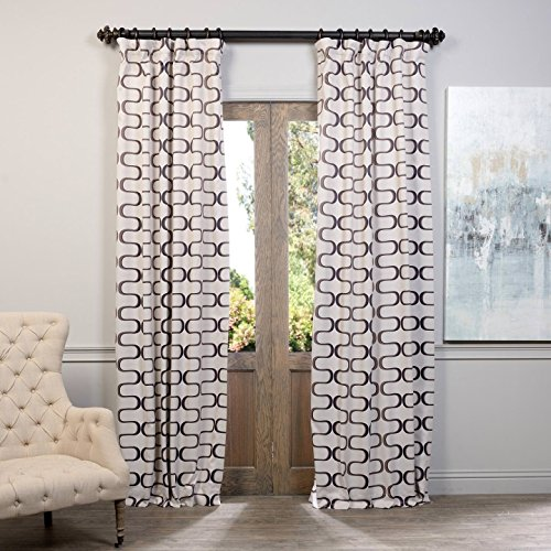 hpd half price drapes boch kc102a 84 blackout curtain retro black java - Retro Curtains