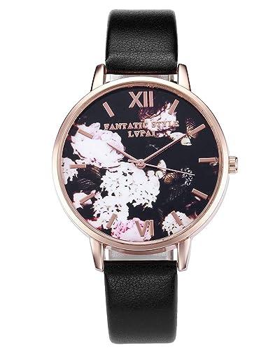 JSDDE Uhren,Retro Blumen und Schmetterling Damen Armbanduhr Basel-Stil Quarzuhr Lederband Rosegold Q...