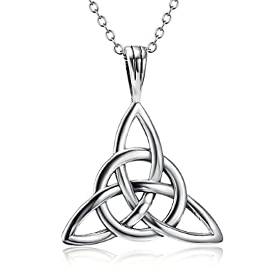 Silver Mountain Jewellery for Women Sterling Silver Lucky Irish Celtic Knot Pendant Necklace with Gift Box tRfuGJf
