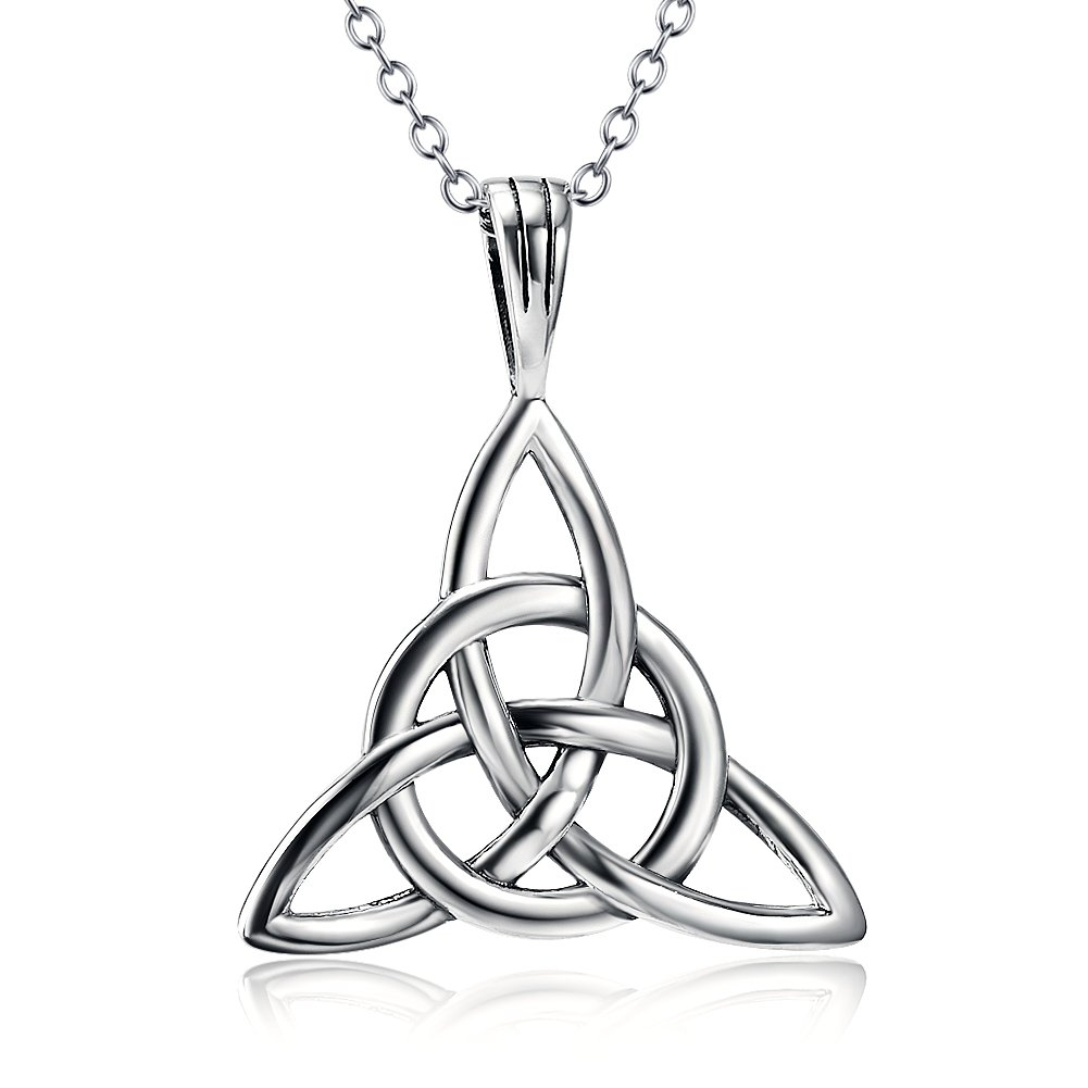 925 Sterling Silver Good Luck Irish Celtic Knot Triangle Vintage Pendant Necklaces, Rolo Chain 18''