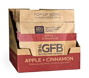 The GFB Protein Oatmeal Cup (Pop-up), Apple Cinnamon, Gluten Free, Non GMO,2.1 Ounce (Pack of 6)