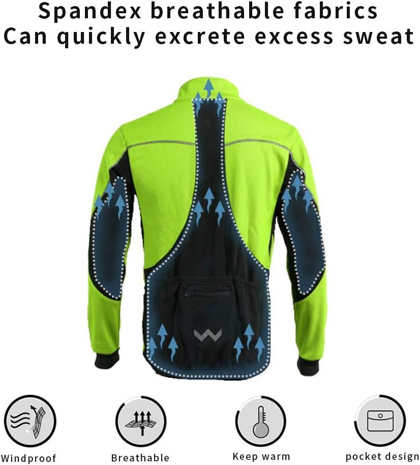 Lipport Mens Cycling Bike Jacket Winter Thermal Running Mountain Biking Jacket Windproof Breathable Reflective Softshell Coat