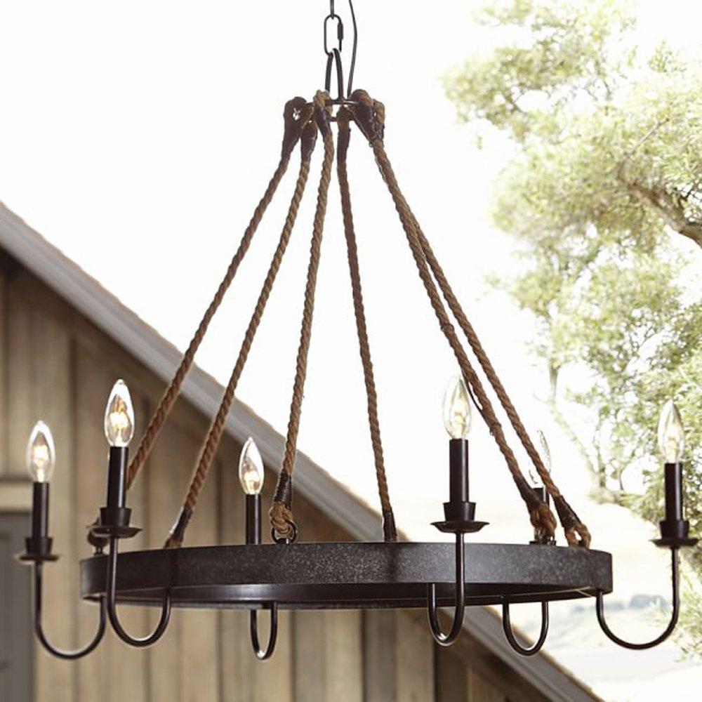 Ladiqi Industrial Chandelier Rustic Hemp Rope Island Light Pendant Light Ceiling Light Fixture