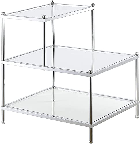 Convenience Concepts Royal Crest 3 Tier Step End Table, Clear Glass Chrome Frame