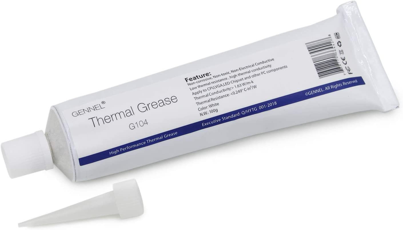 GENNEL 100Gram Tube White Thermal Grease Paste Silicone Compound for PC CPU GPU LED Xbox Cooling