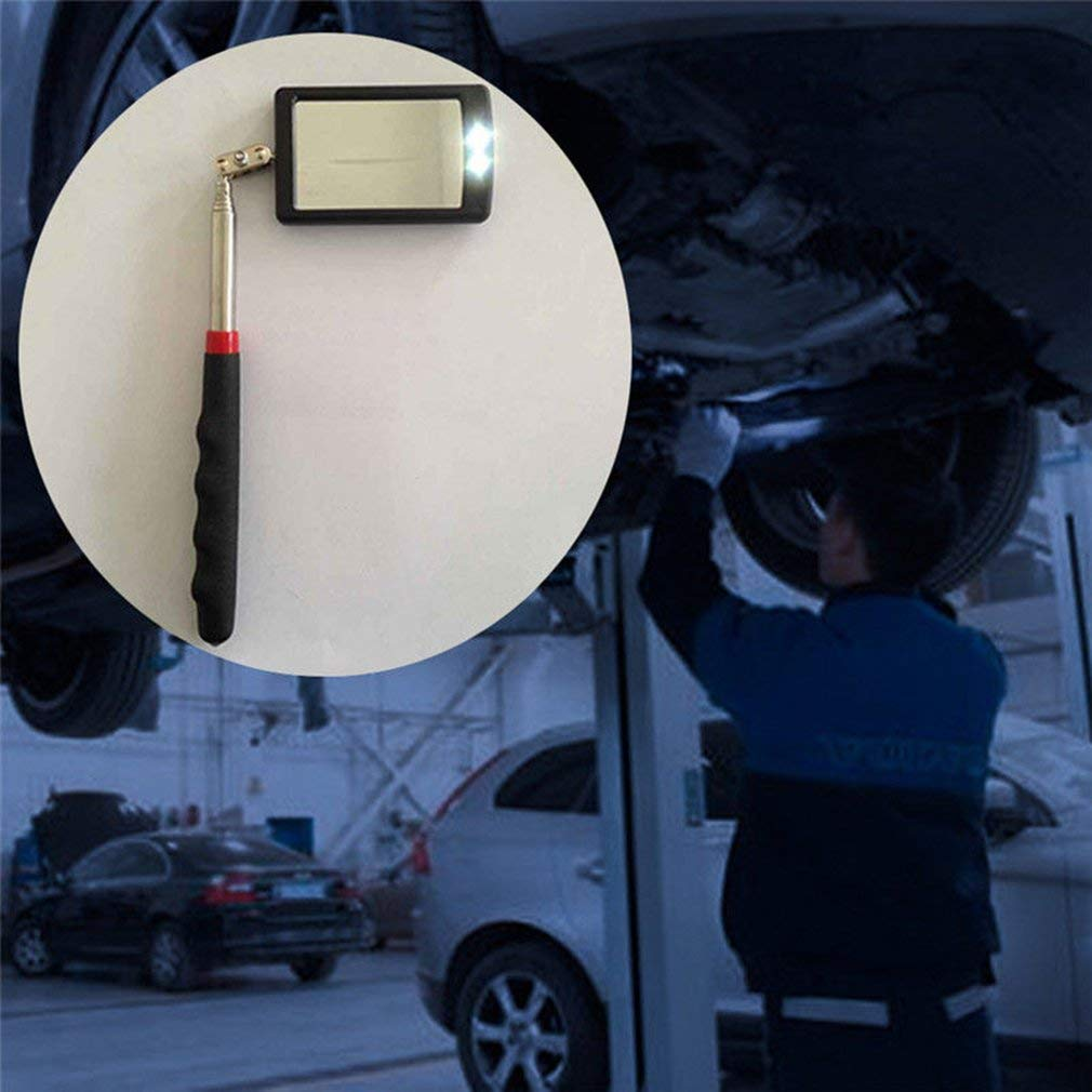 Leoboone Pro Lighted Inspection Mirror Telescoping Illuminate LED Swivel Light Extend
