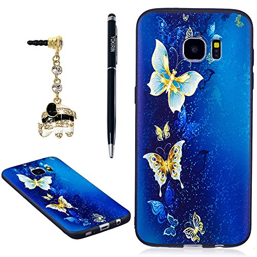 YOKIRIN Galaxy S7 Edge Case,Colorful Printed Embossing Pattern Soft Silicone TPU Rubber Slim Fit Shock-Absorption Full Edge Protective Cover for Samsung Galaxy S7 Edge with Dust Plug & Pen,Butterfly