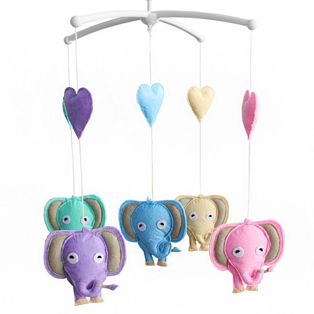 Unisex Baby Crib Rotatable Musical Mobile [Happy Elephants] Blancho Bedding