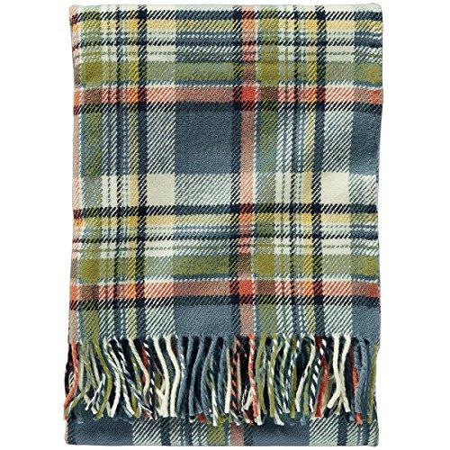 - Pendleton Eco-Wise Wool Fringed Throw, Slate Sky Plaid, One Size