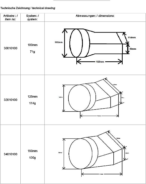 di/ámetro 100/mm Plano Canal Canalizado Tubo Canalizado ba/ño Ventilador Adaptador pieza de transici/ón redondo//rectangular 55/x 110/mm Awenta