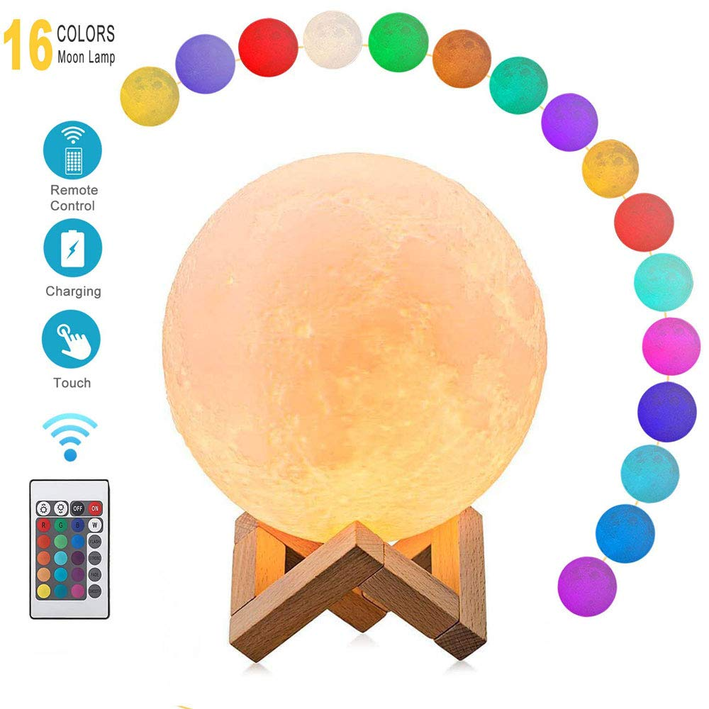 Moon Lamp 16 Colors LED 3D Print Moon Light with Stand & Remote&Touch Control and USB Rechargeable Moon Light Lamps Night Lights for Baby Kids Lover Birthday Party Gifts Bedside Home Decor(5.9inch)