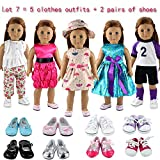 Barwa Lot 7 = 5 Sets Clothes Dress Outfits with Accessories and 2 Pairs Shoes for 18 Inch American Girl Doll