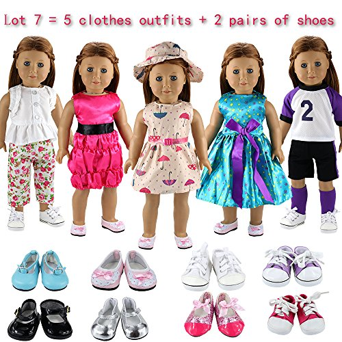 Barwa Lot 7 Items = 5 Sets Clothes Dress Outfits with Accessories and 2 Pairs Shoes for American 18 Inch Girl Doll Xmas Gift