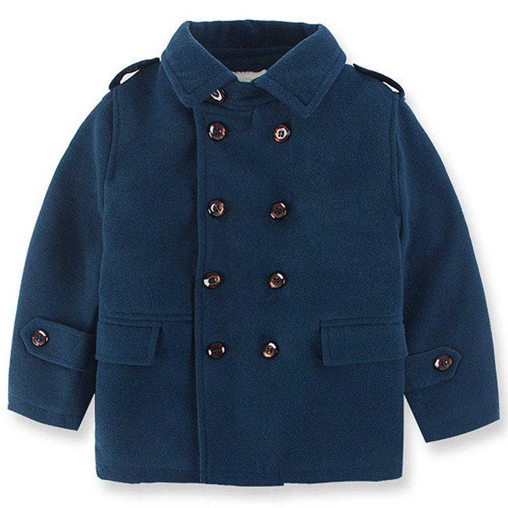 QJH Kids Boys'Wool Blend Duffle Coat Quilt Lined Spring/Autumn Dress Pea Coat
