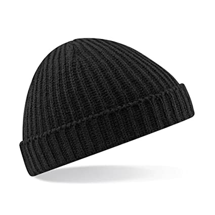 5abc0886f94 Amazon.com   Beechfield B460 Trawler Beanie Hat Black   Sports   Outdoors