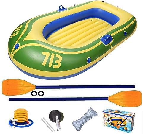 dedeka Portátil Inflable En Bote Plegable De Goma Explorer Boat Kayak Canoa con Remos, Bomba De Pie para 2 Personas - Capacidad Máxima De Carga 130 Kg