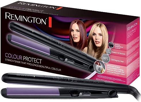 Comprar Remington Colour Protect S6300 - Plancha de Pelo, Cerámica, Placas Flotantes Extra Largas, 30 Ajustes, Negro y Morado