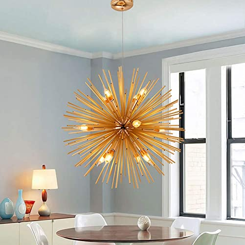 LUOLAX Golden Craft Sputnik Chandelier Mid-Century Ceiling Light Fixture Lamp Satellite Pendant Light for Home Bedroom, Dinning Room Decor Dia 29.5-Inch