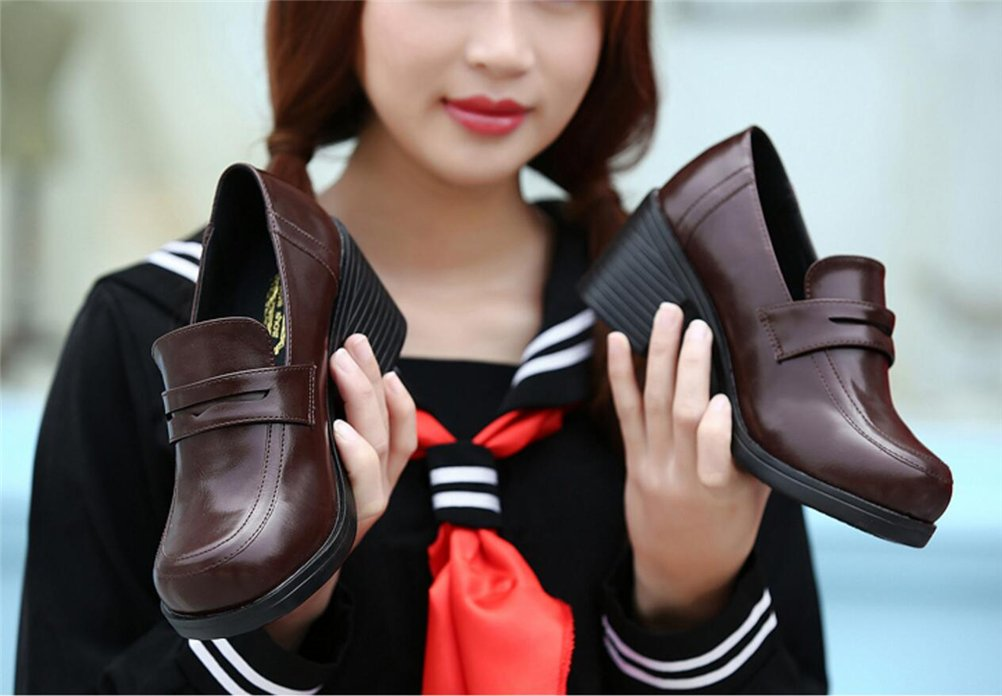 ACE SHOCK Women's Girl's Lolita Low Top Japanese Students Maid Uniform Dress Shoes (8.5, Dark Brown) by ACE SHOCK (Image #5)