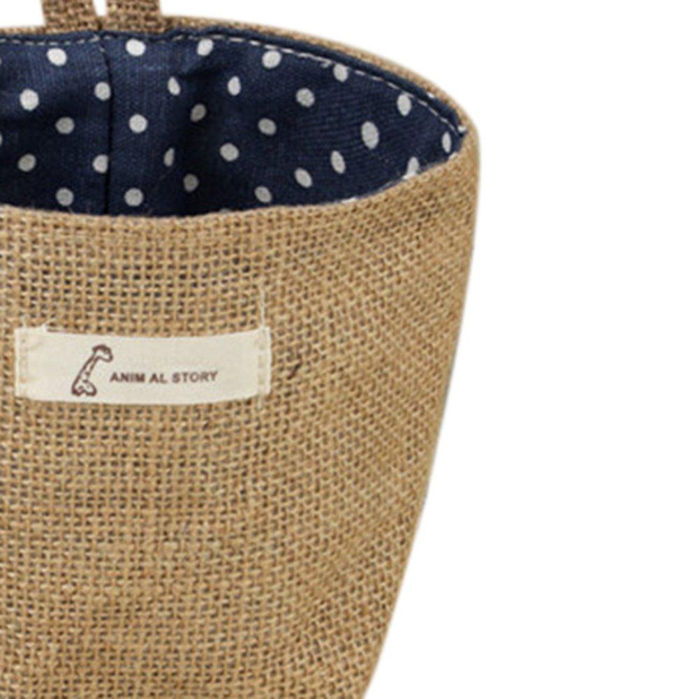 Milopon Mini Sac de Rangement en Tissu Pliable Suspendu Panier de Linge Pour Maison Dortoirs Chambre Bureau Bleu