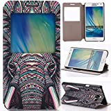 Galaxy A5 Case, Samsung A5 Flip Case,Gift_Source [Slim Fit] Window View PU Leather Case Flip Cover Folio Case for Samsung Galaxy A5 (Elephant),Sent Stylus Pen