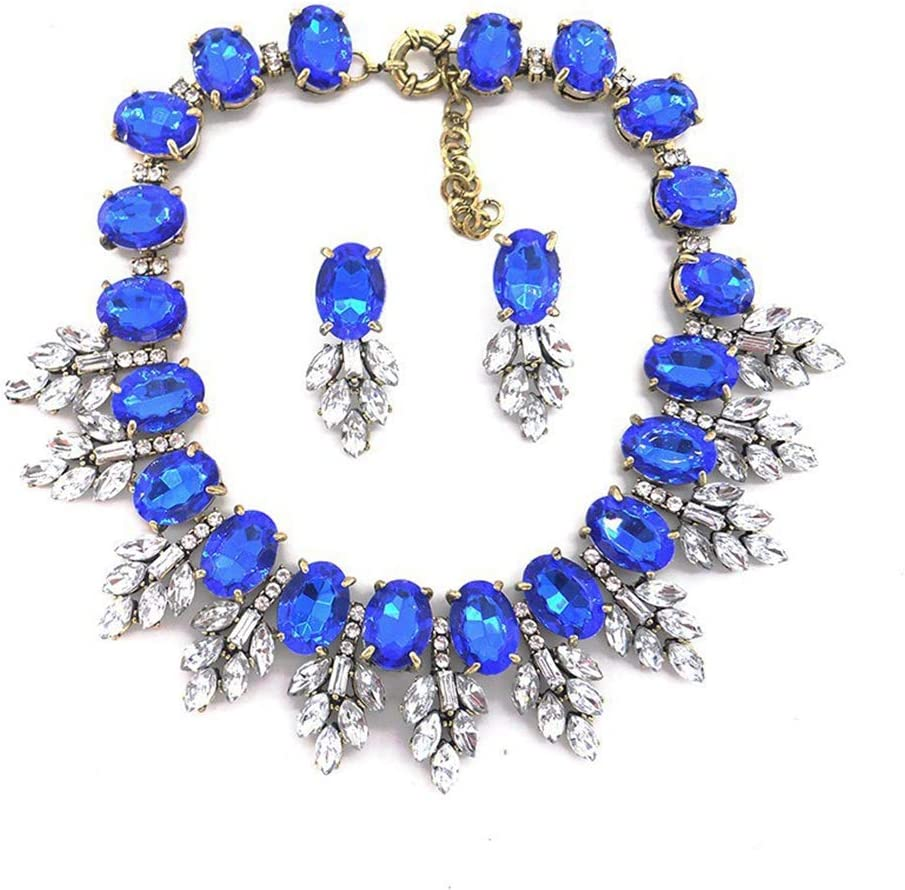YFFSP Zafiro Mujer Pendientes Colgantes De Circonita Cúbica Collar Hoja De Corte Ovalado Señoras Diamantes De Imitación Elegantes Fiesta Mascarada Compromiso,A