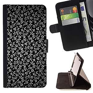Momo Phone Case / Flip Funda de Cuero Case Cover - Flores Gris Wallpaper Negro Jardín - Huawei Ascend P8 (Not for P8 Lite)